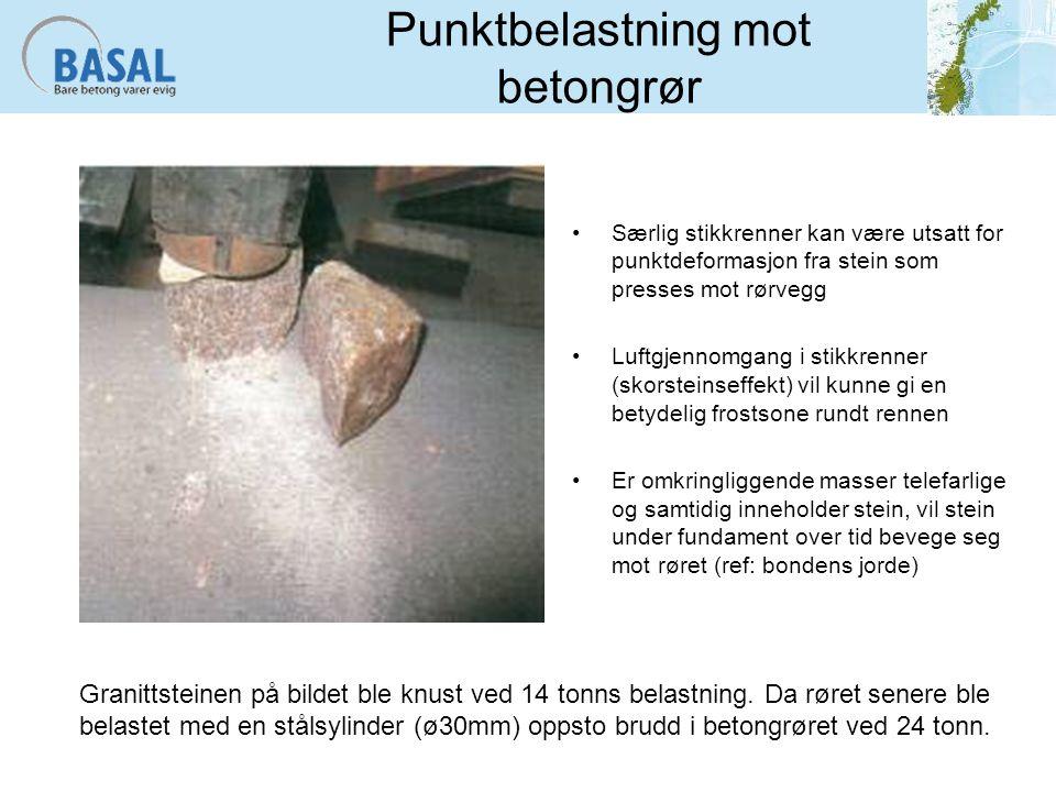 Punktbelastning mot betongrør Særlig stikkrenner kan være utsatt for punktdeformasjon fra stein som presses mot rørvegg Luftgjennomgang i stikkrenner