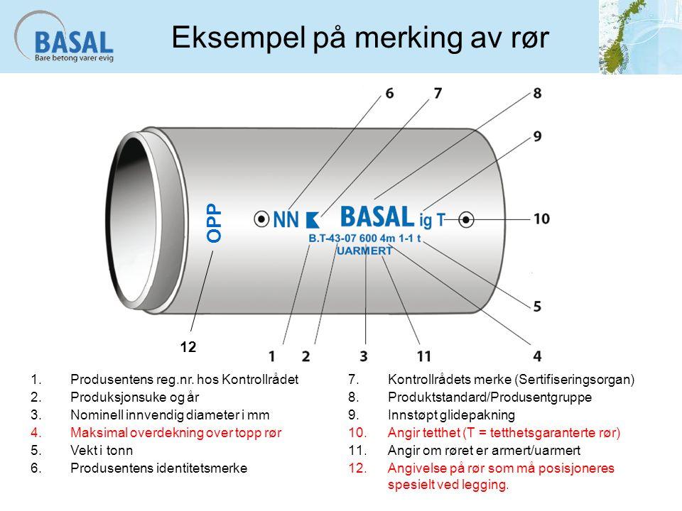 Eksempel på merking av rør 1.Produsentens reg.nr. hos Kontrollrådet 2.Produksjonsuke og år 3.Nominell innvendig diameter i mm 4.Maksimal overdekning o