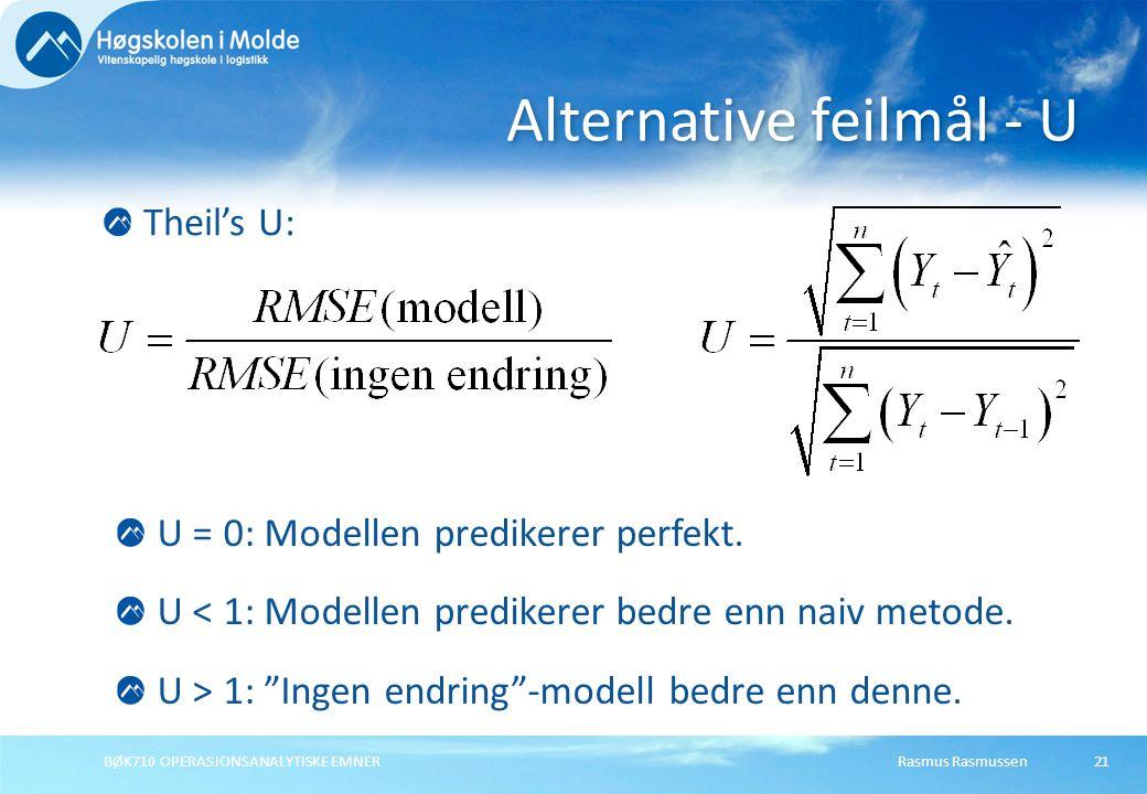 Rasmus RasmussenBØK710 OPERASJONSANALYTISKE EMNER21 Theil's U: Alternative feilmål - U U = 0: Modellen predikerer perfekt. U < 1: Modellen predikerer