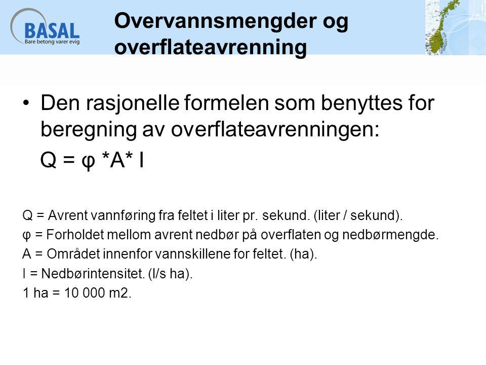Overvannsmengder og overflateavrenning Den rasjonelle formelen som benyttes for beregning av overflateavrenningen: Q = φ *A* I Q = Avrent vannføring f