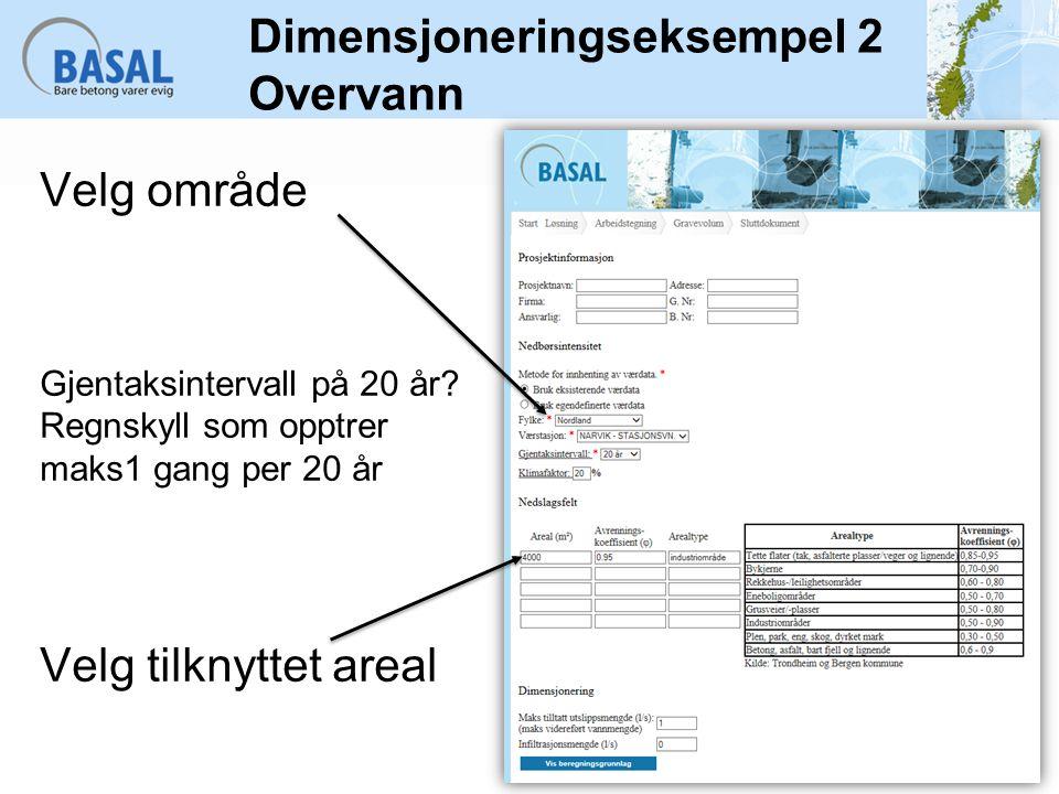 Dimensjoneringseksempel 2 Overvann Velg område Gjentaksintervall på 20 år? Regnskyll som opptrer maks1 gang per 20 år Velg tilknyttet areal