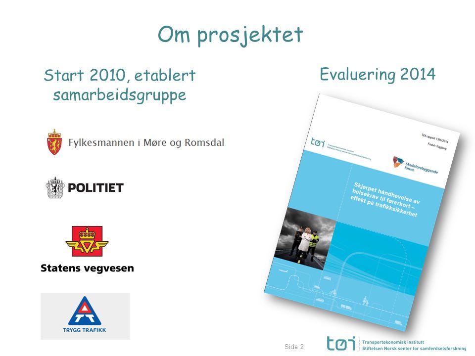 Side2 Om prosjektet Evaluering 2014 Start 2010, etablert samarbeidsgruppe