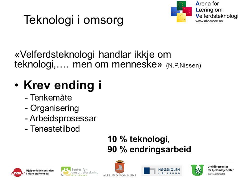 Teknologi i omsorg «Velferdsteknologi handlar ikkje om teknologi,…. men om menneske» (N.P.Nissen) Krev ending i - Tenkemåte - Organisering - Arbeidspr