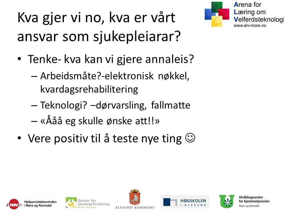 ALV-Møre Tverrprofesjonell kompetansebygging -kommune -høyskole/universitet -næringsliv -borger ForskingSeminarUndervisningUtprøvingsprosjekt
