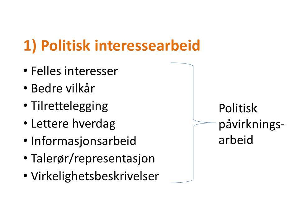 1) Politisk interessearbeid Felles interesser Bedre vilkår Tilrettelegging Lettere hverdag Informasjonsarbeid Talerør/representasjon Virkelighetsbeskrivelser Politisk påvirknings- arbeid