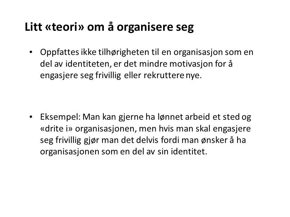 Oppfattes ikke tilhørigheten til en organisasjon som en del av identiteten, er det mindre motivasjon for å engasjere seg frivillig eller rekruttere nye.