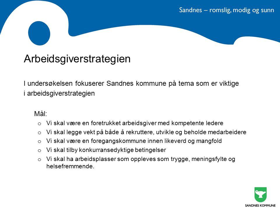 Arbeidsgiverstrategien I undersøkelsen fokuserer Sandnes kommune på tema som er viktige i arbeidsgiverstrategien Mål: o Vi skal være en foretrukket ar