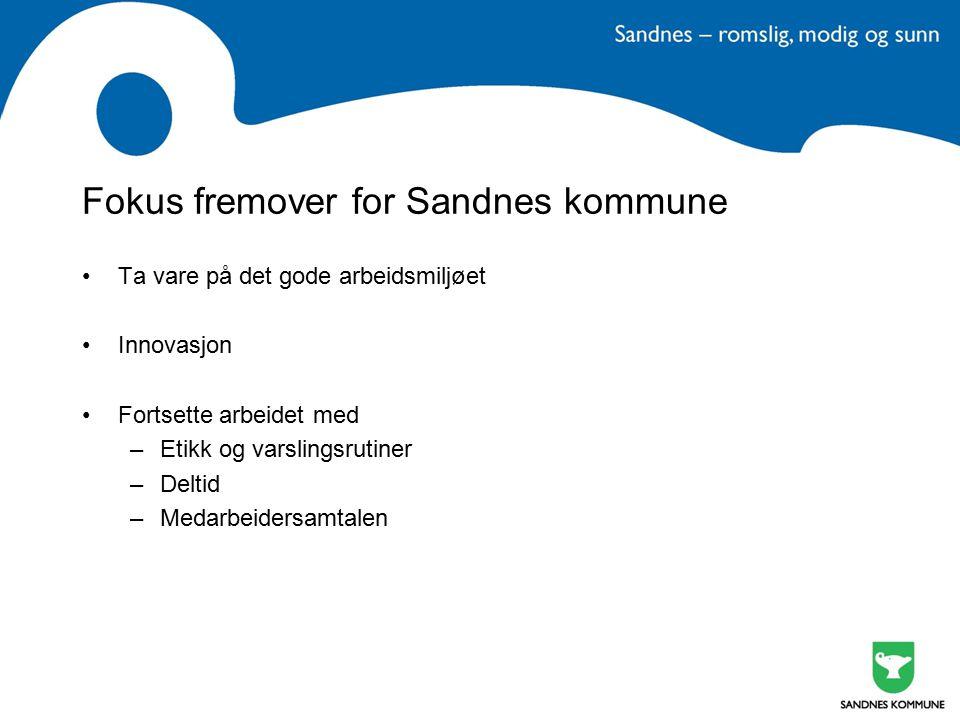 Fokus fremover for Sandnes kommune Ta vare på det gode arbeidsmiljøet Innovasjon Fortsette arbeidet med –Etikk og varslingsrutiner –Deltid –Medarbeide