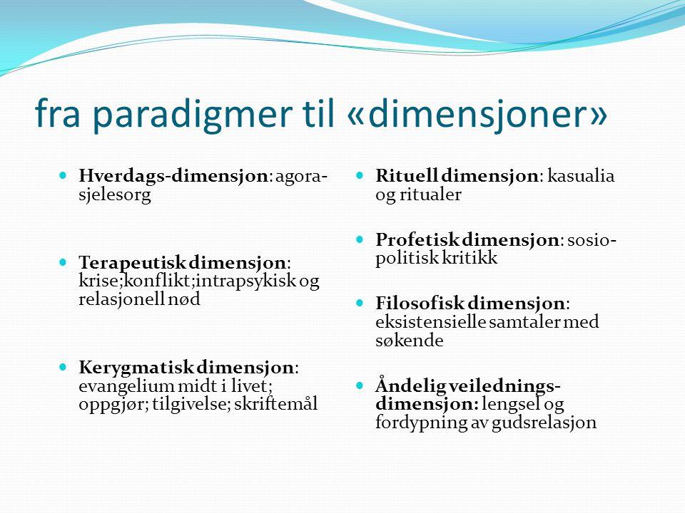 fra paradigmer til «dimensjoner» Hverdags-dimensjon: agora- sjelesorg Terapeutisk dimensjon: krise;konflikt;intrapsykisk og relasjonell nød Kerygmatis