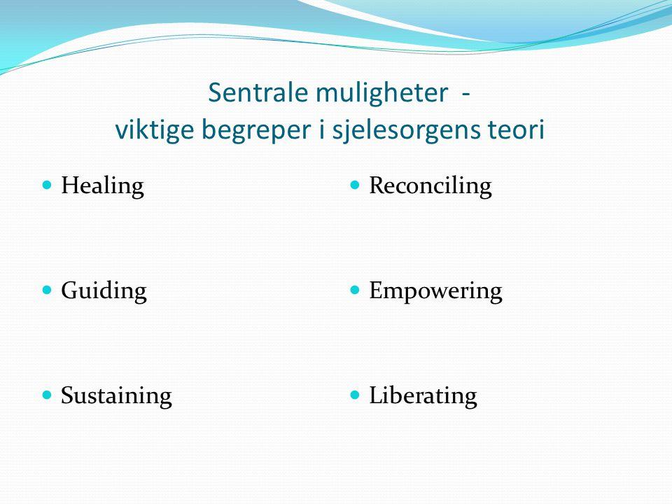 Sentrale muligheter - viktige begreper i sjelesorgens teori Healing Guiding Sustaining Reconciling Empowering Liberating
