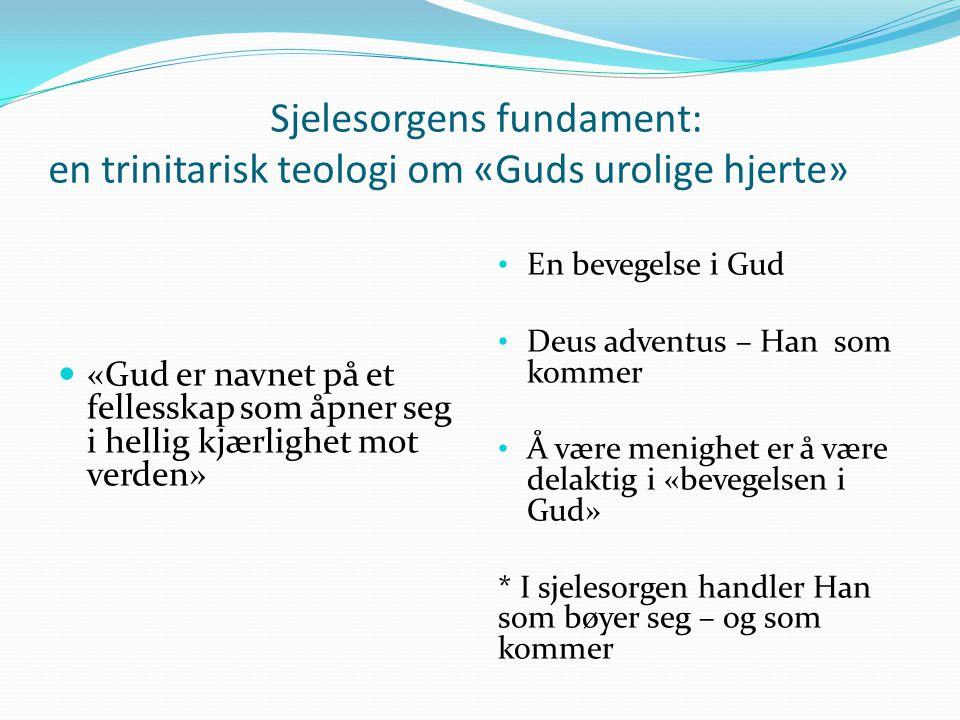 Sjelesorgens fundament: en trinitarisk teologi om «Guds urolige hjerte» «Gud er navnet på et fellesskap som åpner seg i hellig kjærlighet mot verden»