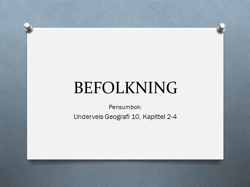 BEFOLKNING Pensumbok: Underveis Geografi 10, Kapittel 2-4