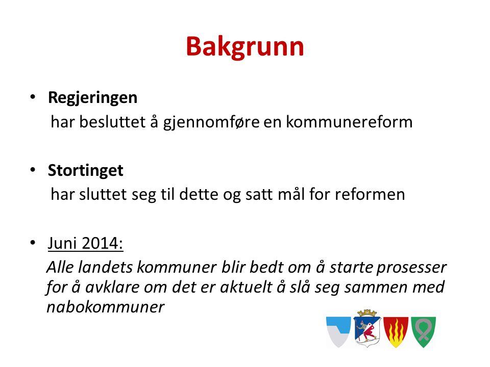 Bakgrunn Regjeringen har besluttet å gjennomføre en kommunereform Stortinget har sluttet seg til dette og satt mål for reformen Juni 2014: Alle landet