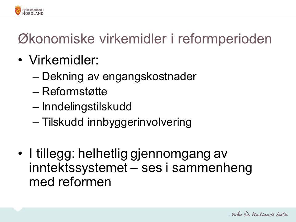 Økonomiske virkemidler i reformperioden Virkemidler: –Dekning av engangskostnader –Reformstøtte –Inndelingstilskudd –Tilskudd innbyggerinvolvering I t