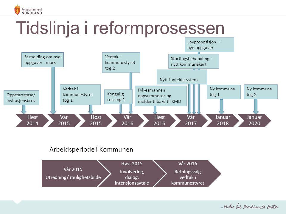Tidslinja i reformprosessen Høst 2014 Vår 2015 Høst 2015 Vår 2016 Høst 2016 Vår 2017 Januar 2018 Januar 2020 Oppstartsfase/ invitasjonsbrev Ny kommune