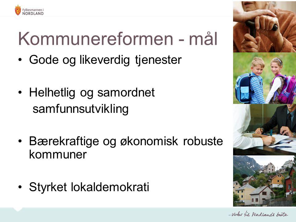 Kommunereformen - mål Gode og likeverdig tjenester Helhetlig og samordnet samfunnsutvikling Bærekraftige og økonomisk robuste kommuner Styrket lokalde
