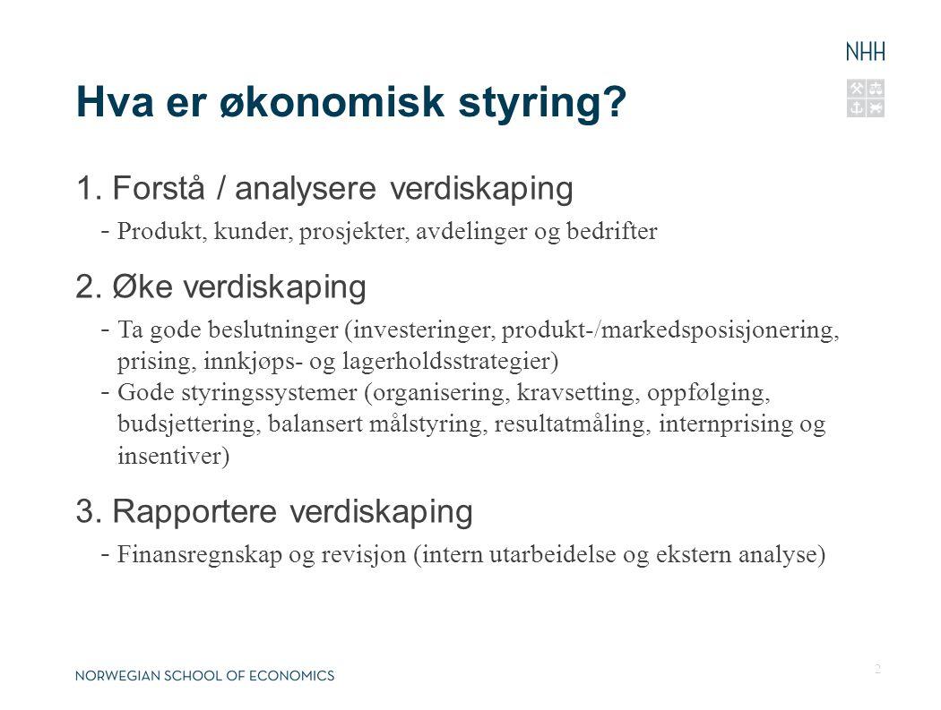 Hva er økonomisk styring? 1. Forstå / analysere verdiskaping - Produkt, kunder, prosjekter, avdelinger og bedrifter 2. Øke verdiskaping - Ta gode besl