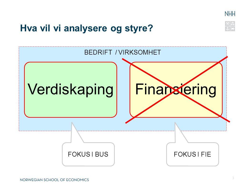 Hva vil vi analysere og styre? BEDRIFT / VIRKSOMHET VerdiskapingFinansiering FOKUS I FIEFOKUS I BUS 3