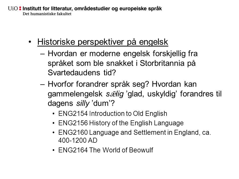Historiske perspektiver på engelsk –Hvordan er moderne engelsk forskjellig fra språket som ble snakket i Storbritannia på Svartedaudens tid? –Hvorfor