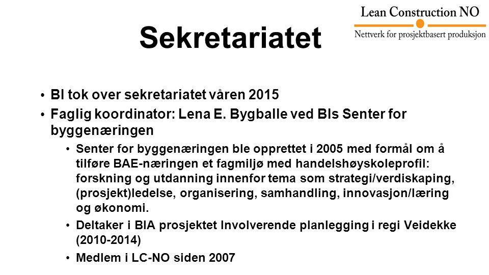 Sekretariatet BI tok over sekretariatet våren 2015 Faglig koordinator: Lena E.