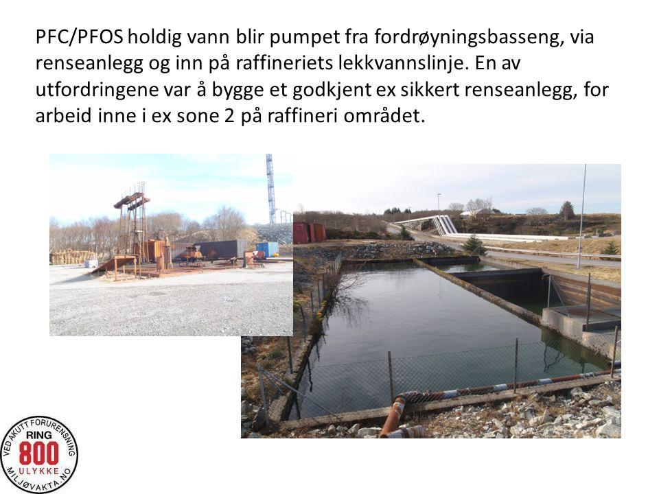 PFC/PFOS holdig vann blir pumpet fra fordrøyningsbasseng, via renseanlegg og inn på raffineriets lekkvannslinje.