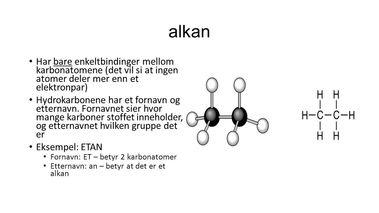 alkan Har bare enkeltbindinger mellom karbonatomene (det vil si at ingen atomer deler mer enn et elektronpar) Hydrokarbonene har et fornavn og etterna