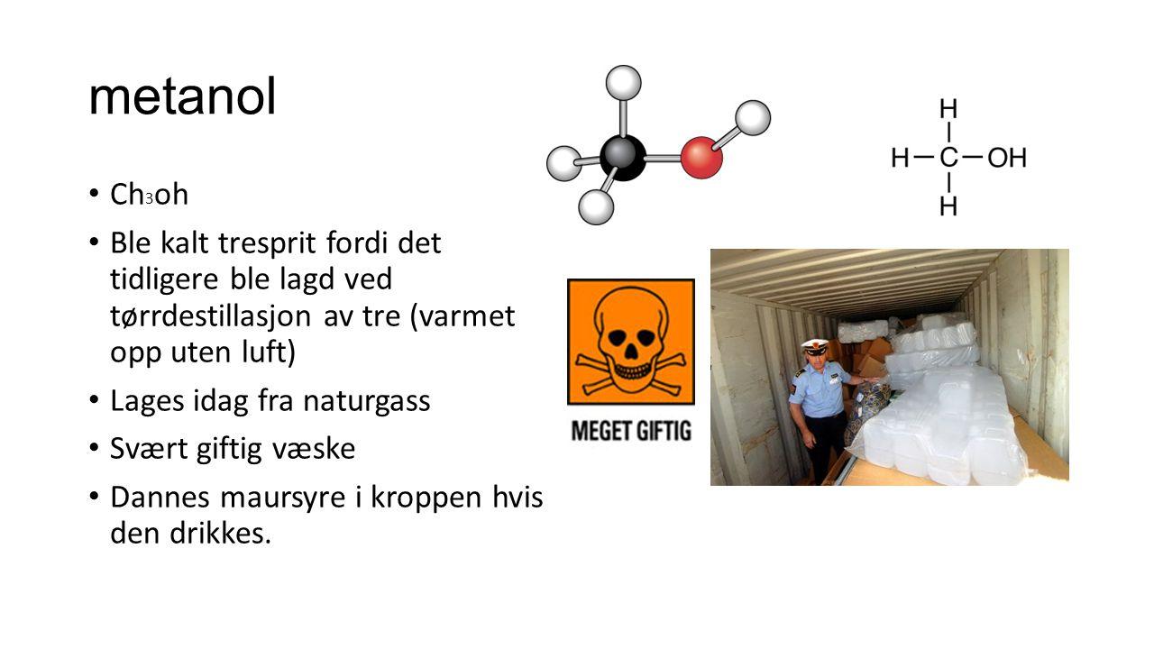 metanol Ch 3 oh Ble kalt tresprit fordi det tidligere ble lagd ved tørrdestillasjon av tre (varmet opp uten luft) Lages idag fra naturgass Svært gifti