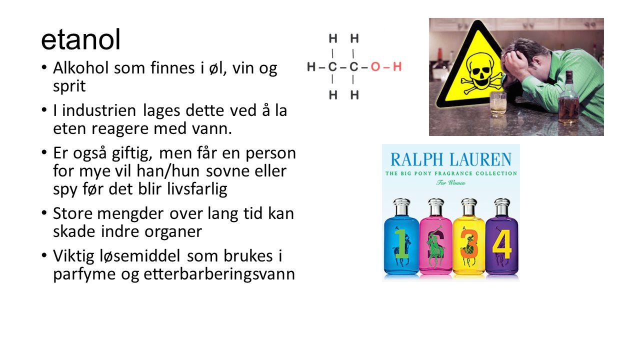 Flerverdige alkoholer Alkohol kan inneholde to eller flere hydroksylgrupper (oh- gruppe) Vi kaller dem da toverdige eller flerverdige alkoholer Eksempel: Glykol (frostvæske, avising av fly) Glyserol (seig og tykk væske som brukes i sukkertøy og håndkrem)