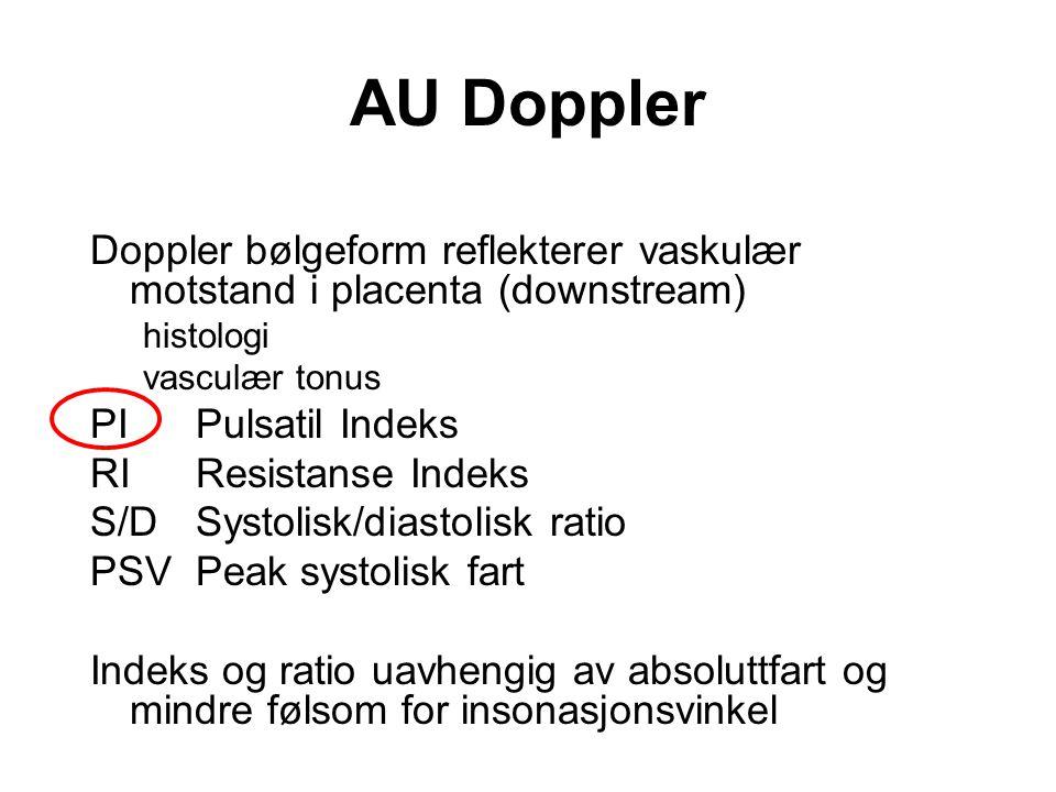 AU Doppler Doppler bølgeform reflekterer vaskulær motstand i placenta (downstream) histologi vasculær tonus PIPulsatil Indeks RIResistanse Indeks S/DS