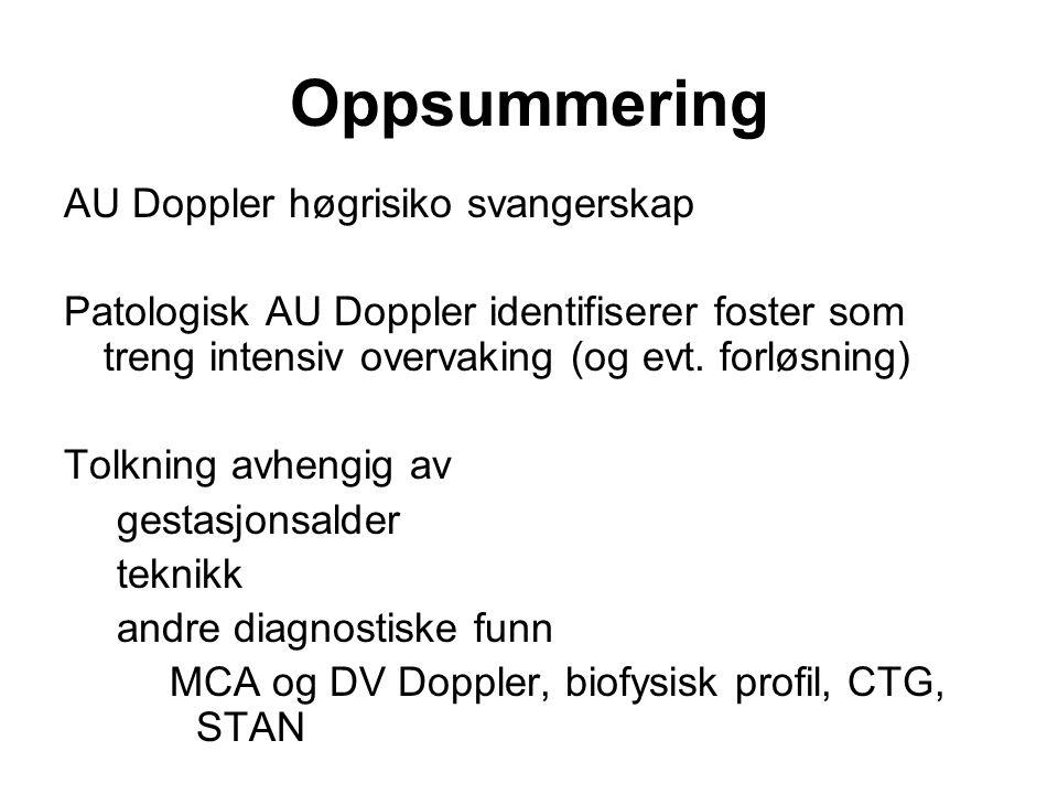 Oppsummering AU Doppler høgrisiko svangerskap Patologisk AU Doppler identifiserer foster som treng intensiv overvaking (og evt. forløsning) Tolkning a
