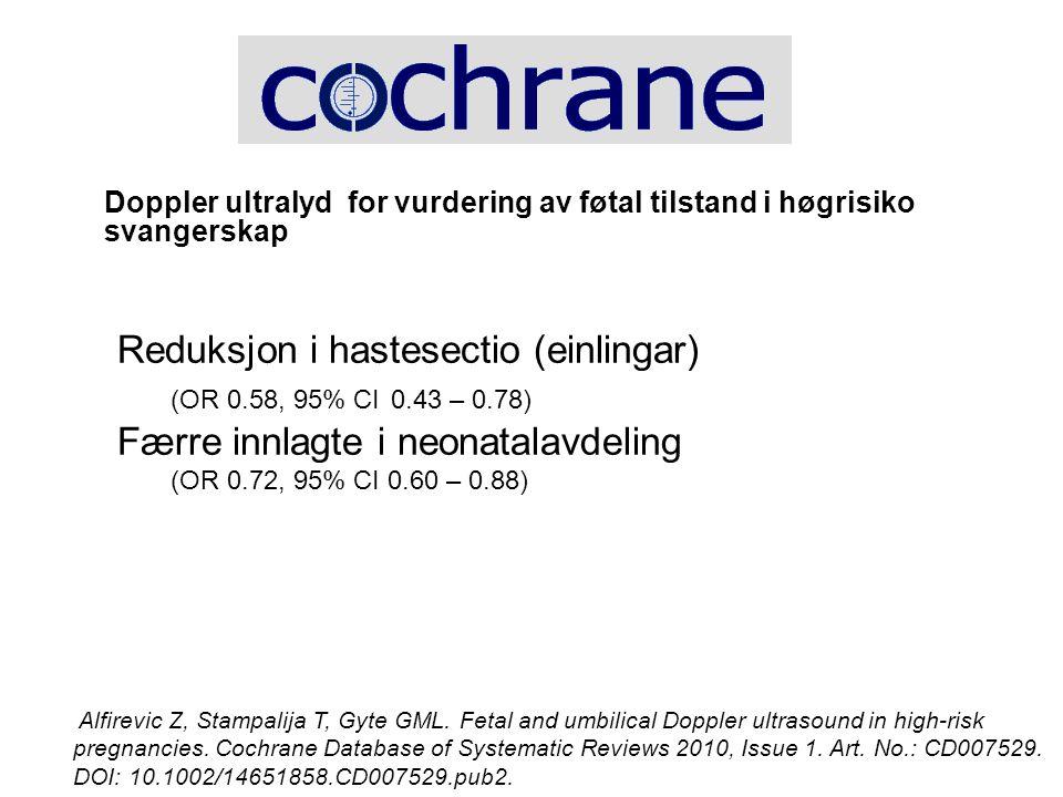 Doppler ultralyd for vurdering av føtal tilstand i høgrisiko svangerskap Reduksjon i hastesectio (einlingar) (OR 0.58, 95% CI 0.43 – 0.78) Færre innla