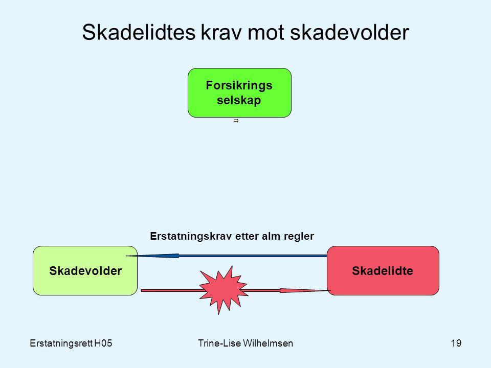 Erstatningsrett H05Trine-Lise Wilhelmsen19 Skadelidtes krav mot skadevolder Forsikrings selskap SkadevolderSkadelidte Erstatningskrav etter alm regler