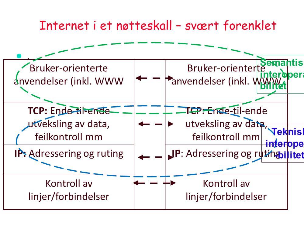 Noen sentrale prinsipper ved Internett l Lagdeling : »Programmene er delt i vertikale lag som bygger på hverandre, men utveksler data gjennom enkle fo