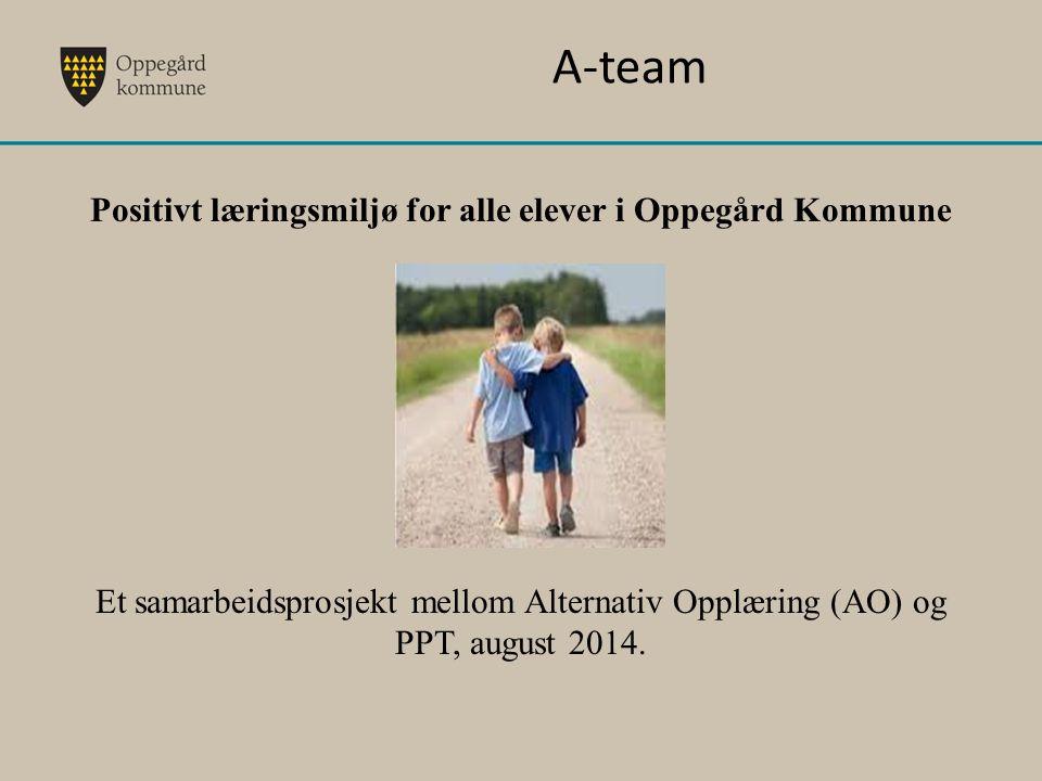 A-team Positivt læringsmiljø for alle elever i Oppegård Kommune Et samarbeidsprosjekt mellom Alternativ Opplæring (AO) og PPT, august 2014.