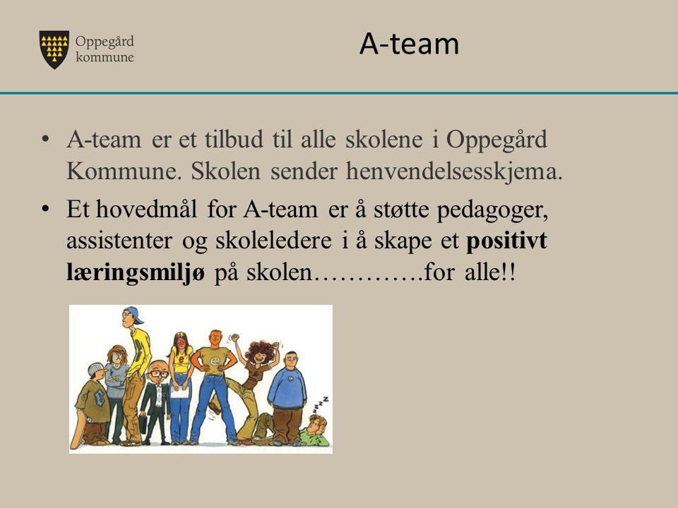 A-team A-team er et tilbud til alle skolene i Oppegård Kommune. Skolen sender henvendelsesskjema. Et hovedmål for A-team er å støtte pedagoger, assist