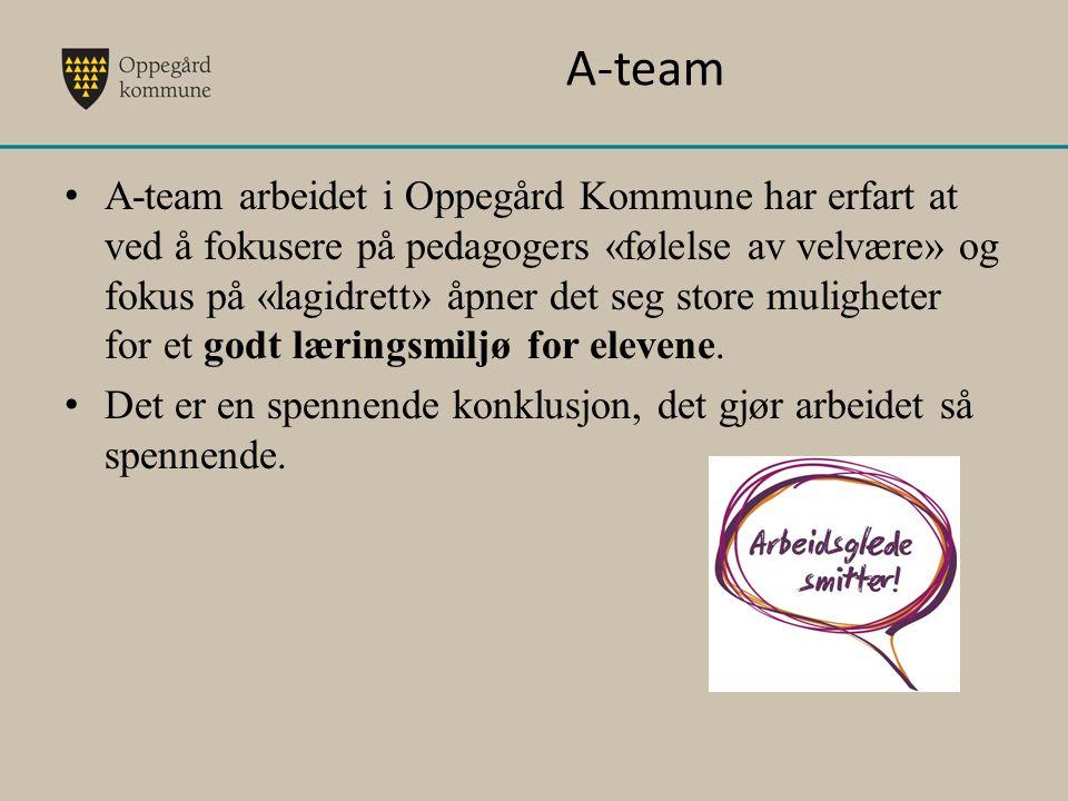 A-team A-team arbeidet i Oppegård Kommune har erfart at ved å fokusere på pedagogers «følelse av velvære» og fokus på «lagidrett» åpner det seg store
