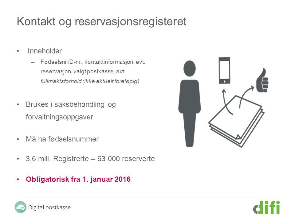 Kontakt og reservasjonsregisteret Inneholder –Fødselsnr./D-nr., kontaktinformasjon, evt. reservasjon, valgt postkasse, evt. fullmaktsforhold (ikke akt
