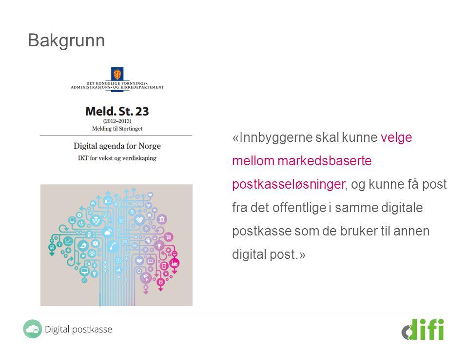Bakgrunn «Innbyggerne skal kunne velge mellom markedsbaserte postkasseløsninger, og kunne få post fra det offentlige i samme digitale postkasse som de