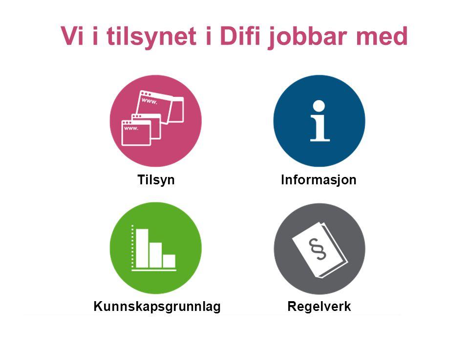Tilsyn Vi i tilsynet i Difi jobbar med Kunnskapsgrunnlag Informasjon Regelverk