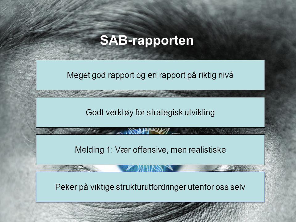 SAB-rapporten Meget god rapport og en rapport på riktig nivå Godt verktøy for strategisk utvikling Melding 1: Vær offensive, men realistiske Peker på viktige strukturutfordringer utenfor oss selv