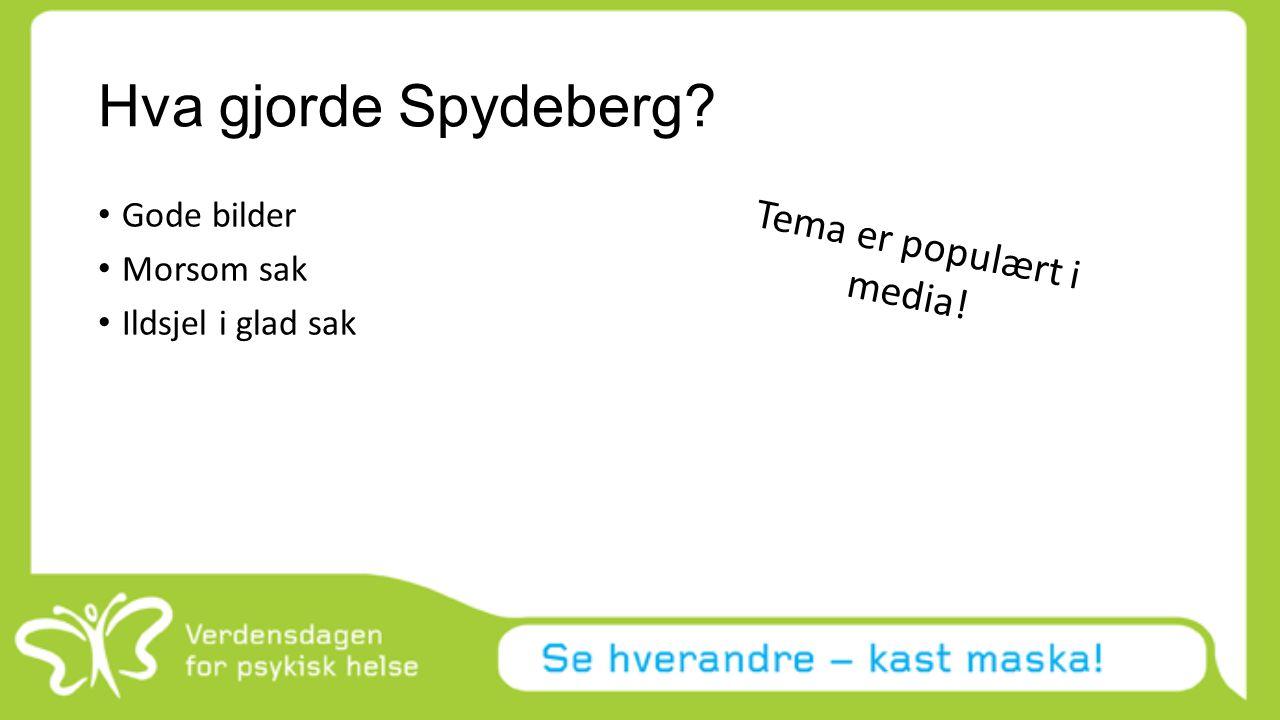 Hva gjorde Spydeberg? Gode bilder Morsom sak Ildsjel i glad sak Tema er populært i media!