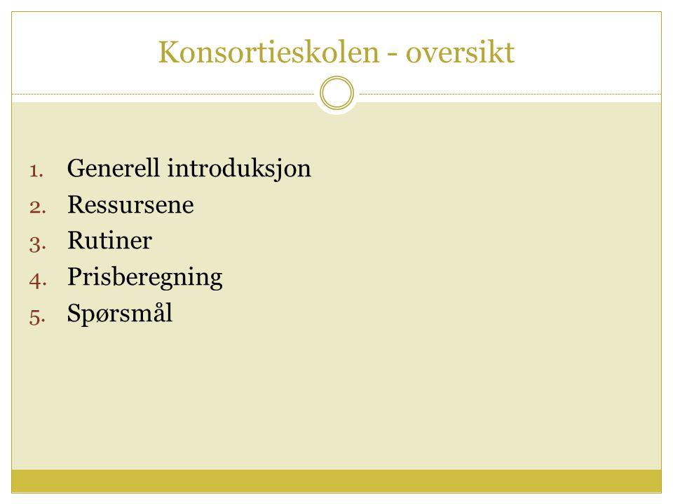 Konsortieskolen - oversikt 1. Generell introduksjon 2.