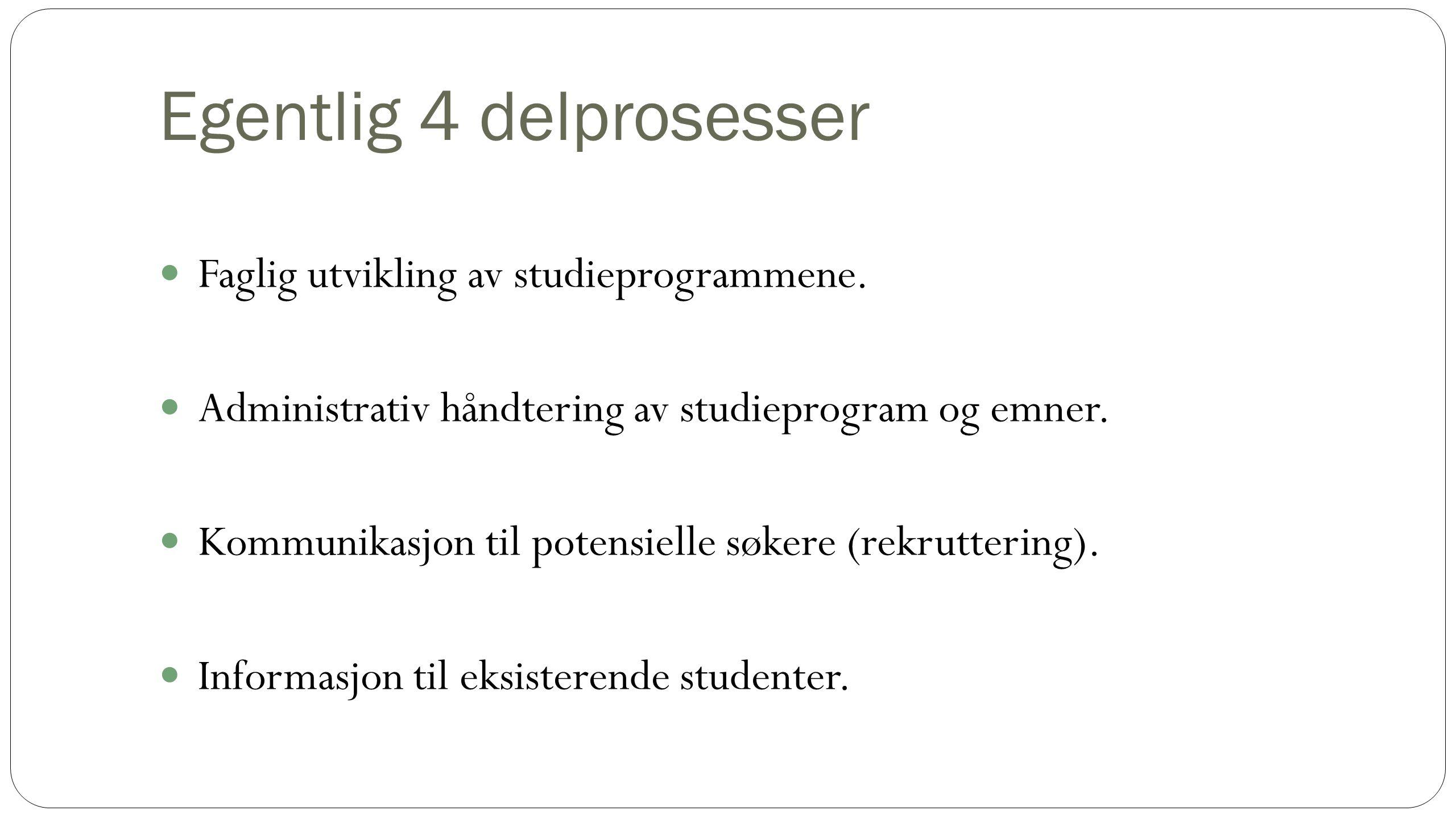 Egentlig 4 delprosesser Faglig utvikling av studieprogrammene.