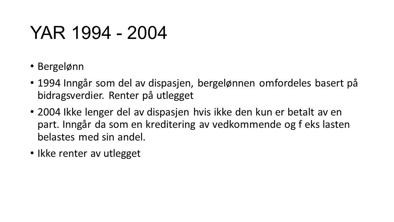 YAR 1994 - 2004 Bergelønn 1994 Inngår som del av dispasjen, bergelønnen omfordeles basert på bidragsverdier. Renter på utlegget 2004 Ikke lenger del a