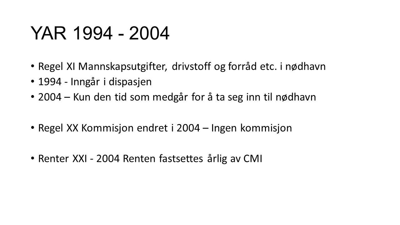 YAR 1994 - 2004 Regel XI Mannskapsutgifter, drivstoff og forråd etc. i nødhavn 1994 - Inngår i dispasjen 2004 – Kun den tid som medgår for å ta seg in