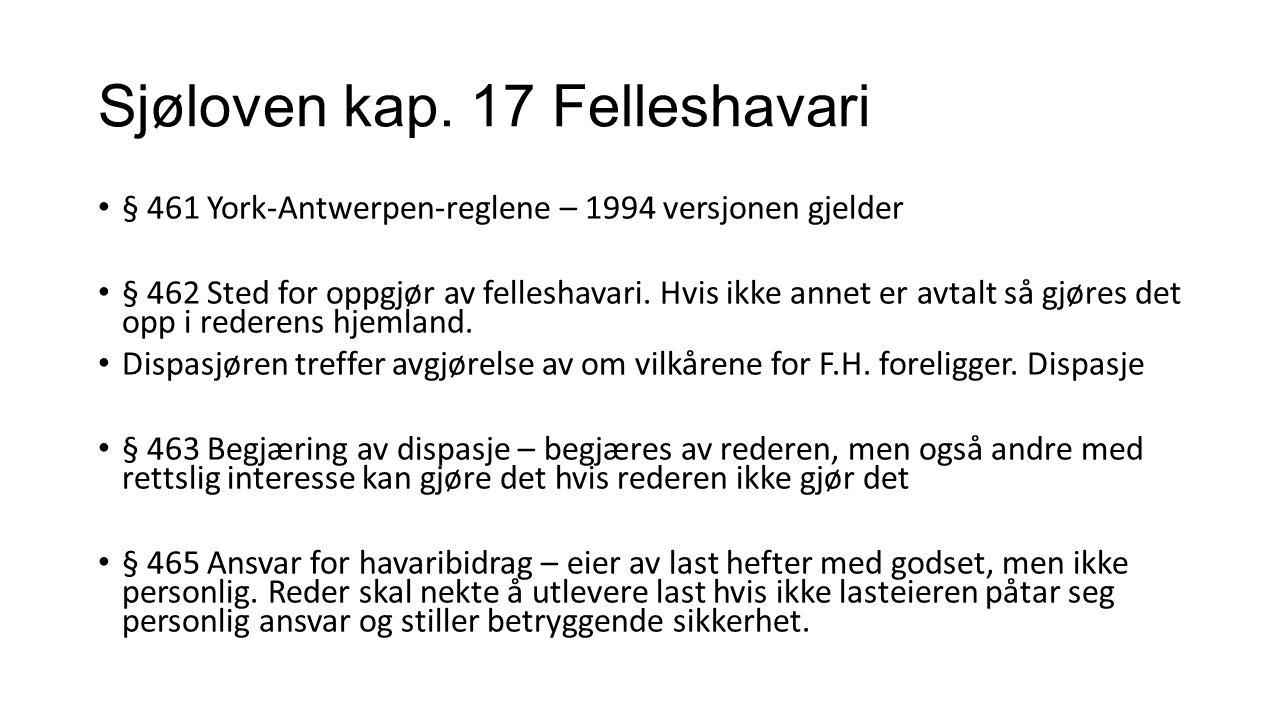 Sjøloven kap. 17 Felleshavari § 461 York-Antwerpen-reglene – 1994 versjonen gjelder § 462 Sted for oppgjør av felleshavari. Hvis ikke annet er avtalt