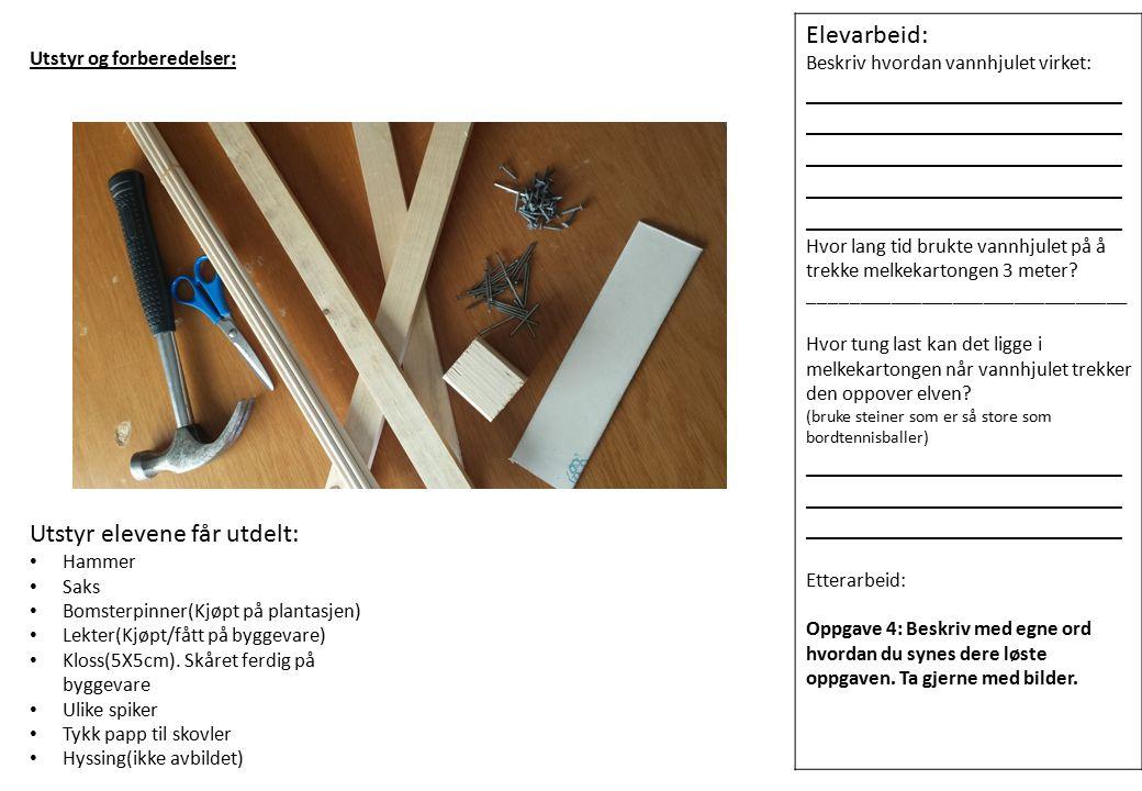 Utstyr og forberedelse Bildet til venstre viser utstyr læreren trenger.