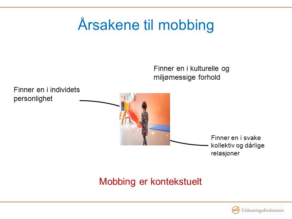 Årsakene til mobbing Finner en i individets personlighet Finner en i svake kollektiv og dårlige relasjoner Finner en i kulturelle og miljømessige forh