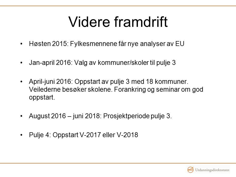 Videre framdrift Høsten 2015: Fylkesmennene får nye analyser av EU Jan-april 2016: Valg av kommuner/skoler til pulje 3 April-juni 2016: Oppstart av pu