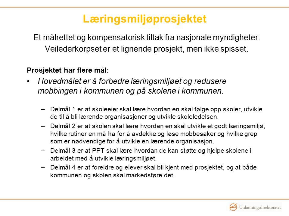 Læringsmiljøprosjektet Et målrettet og kompensatorisk tiltak fra nasjonale myndigheter. Veilederkorpset er et lignende prosjekt, men ikke spisset. Pro